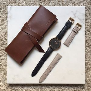 Cluse La Boheme Rose Gold Watch Two Leather Bands
